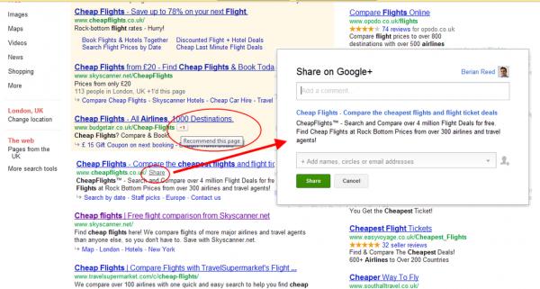 Compartilhando páginas direto dos resultados de pesquisas do Google para o Google+