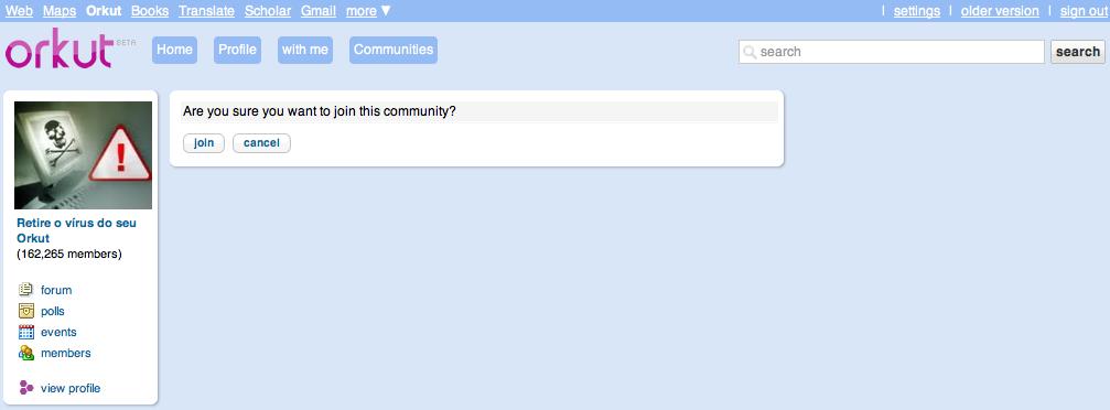 Screen shot 2010 09 25 at 21.03.46 Bug no Orkut afeta milhares de usuários [atualizado]