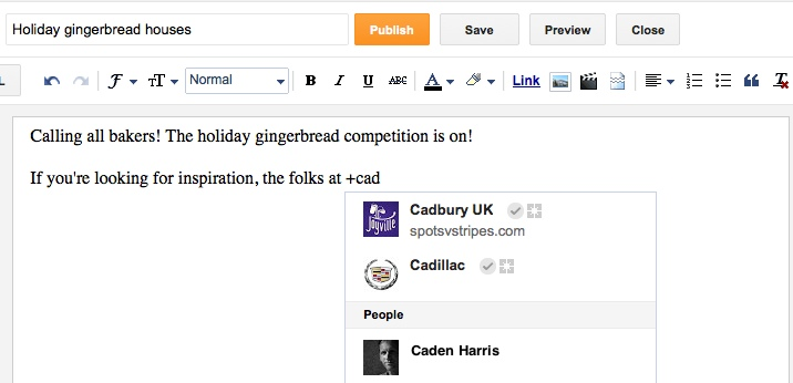 blogger plus Editor do Blogger agora menciona pessoas ou páginas do Google+