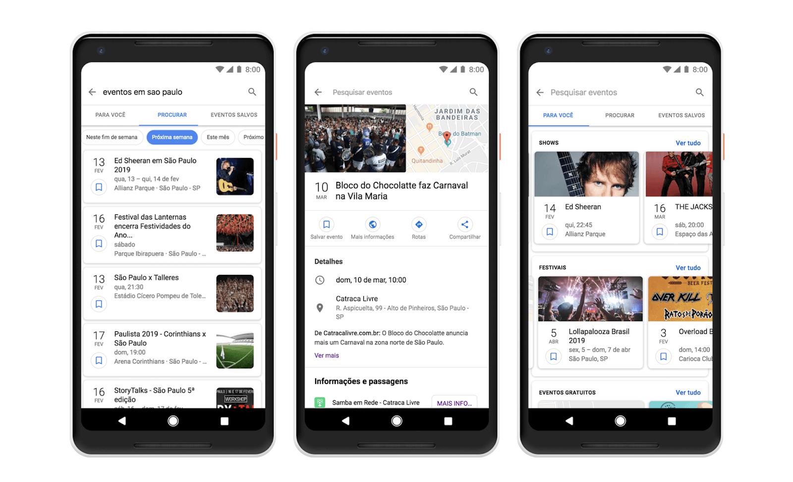 Eventos e atividades na busca do Google