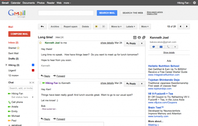 conversas gmail e1309562095375 Google libera uma prévia da nova interface do Gmail