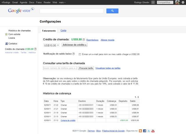 Configurações e créditos no Google Voice.