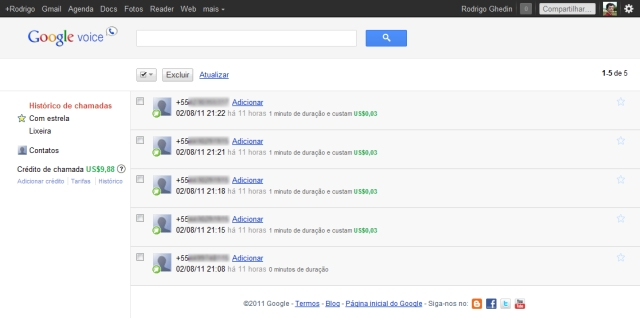 Dashboard do Google Voice.