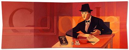 doodle fernando pessoa Google comemora os 123 anos de nascimento de Fernando Pessoa