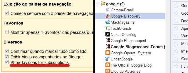favicons greader Google Reader ganha menu drop down e exibição de favicons