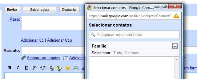 gmail selecionador contatos Gmail implementa selecionador de contatos