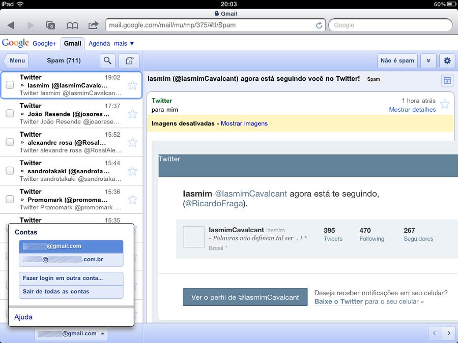 gmail mobile multiplos logins Gmail mobile passa a permitir múltiplos logins