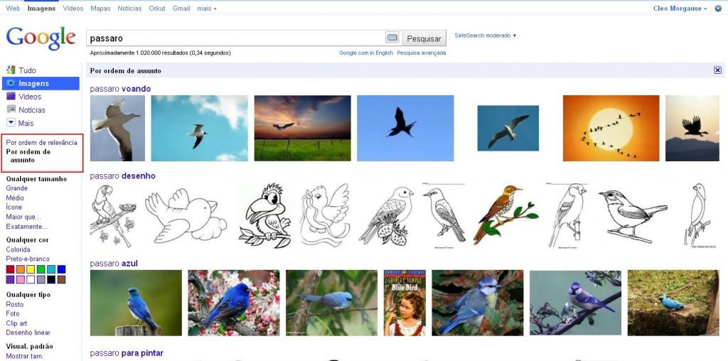 Google Imagens por ordem de assunto