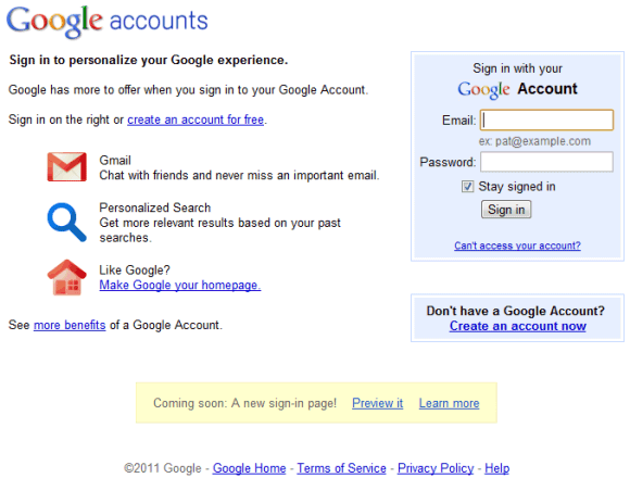 google login page old Google experimenta nova página de login