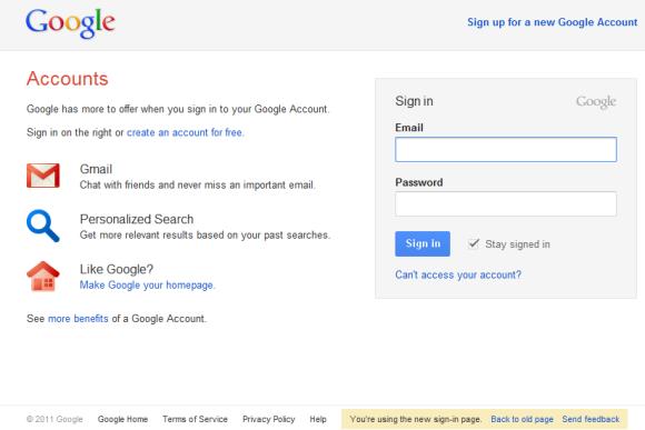 Google login page test 2