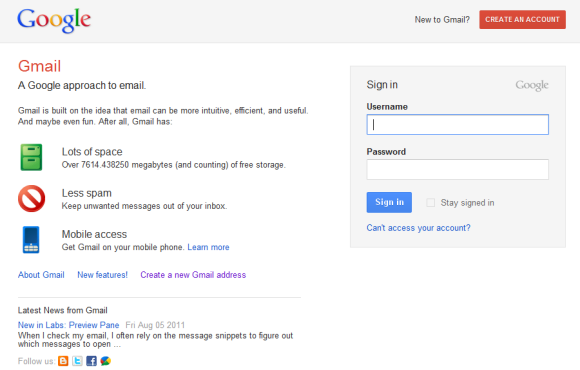 Google login page test