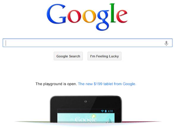 google nexus 7 Google promove Nexus 7 na página inicial