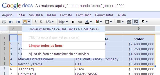 google docs clipboard1 Google Docs ganha área de transferência nas nuvens