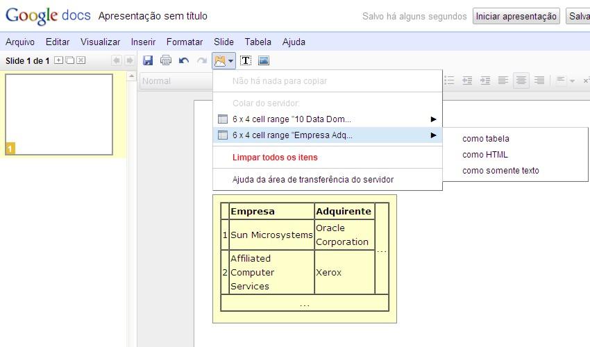 google docs clipboard3 Google Docs ganha área de transferência nas nuvens