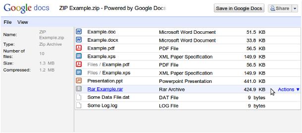 google docs zip rar Google Docs Viewer passa a suportar arquivos ZIP e RAR
