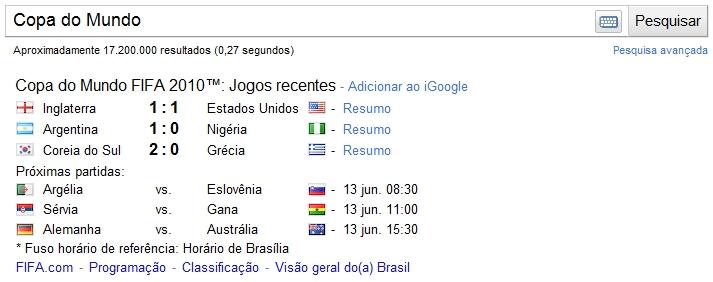 google fifa search - Google entra com tudo na Copa do Mundo