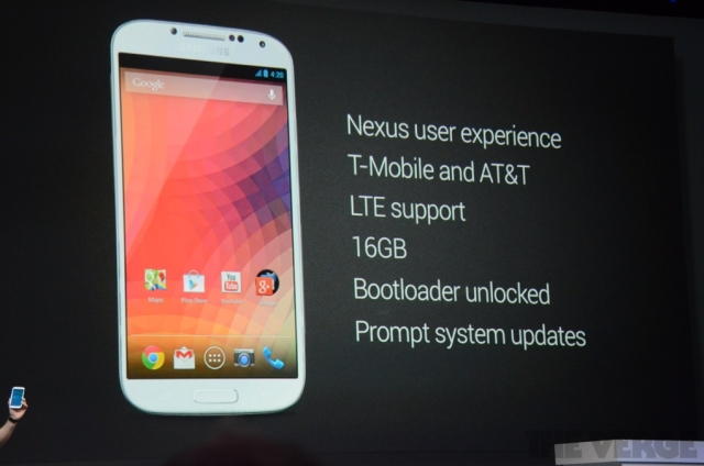 Google anuncia Galaxy S4 com Android puro (Foto: The Verge)