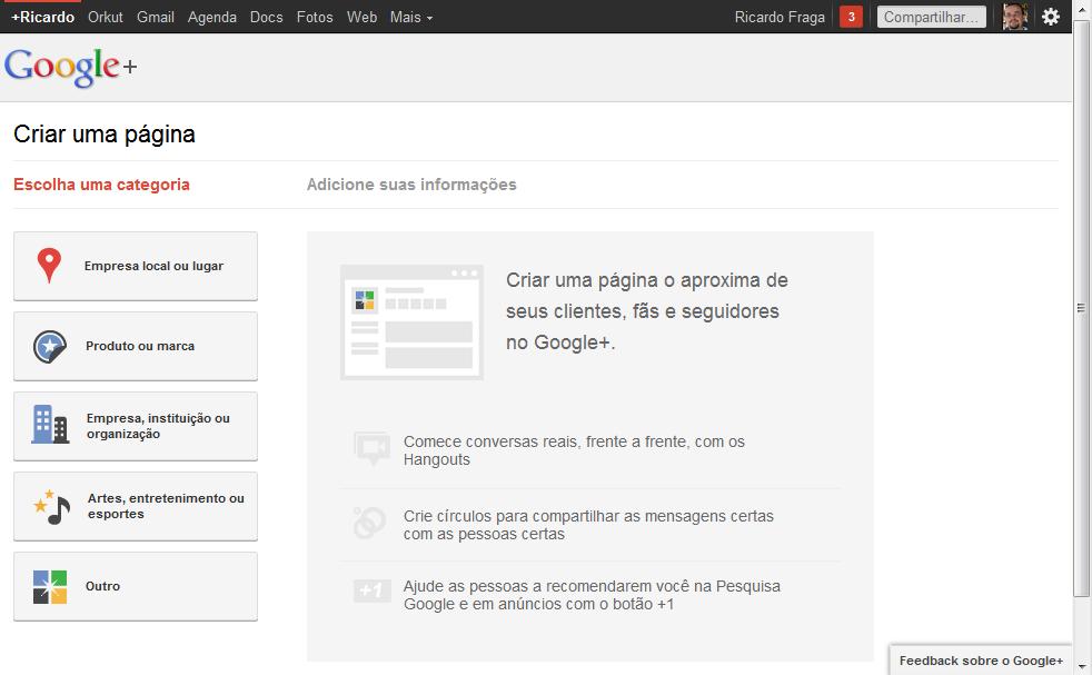 google plus paginas criar Google implementa páginas no Google+