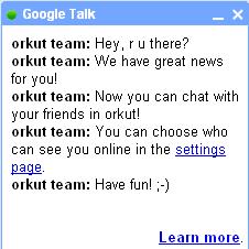 Google Talk Orkut
