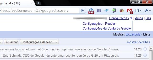 menu configuracoes greader Google Reader ganha menu drop down e exibição de favicons