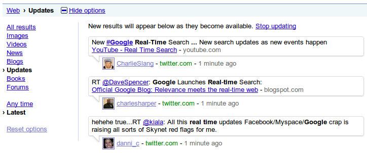real time2 Google revela mecanismo de pesquisa em tempo real